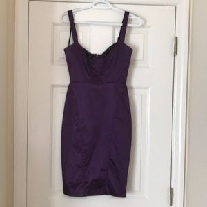 Bebe Purple dress with black lace on the top